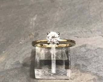 Size 8, gold over sterling silver CZ ring, fine 925 silver engagement ring, stamped sterling