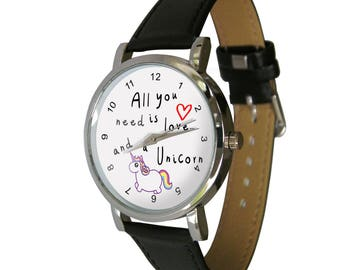 All you need is love & a Unicorn design watch. ideal Gift Idea