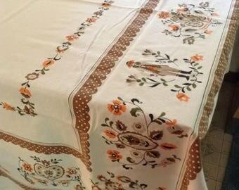 Vintage Cotton Broadcloth Tablecloth, White orange brown, 52 x 64
