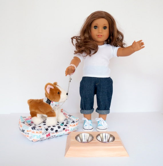 Doll DOG ACCESSORIES Handcrafted for 18 Inch dolls such as American Girl® Choices include dog bed, dog dish, or dog collar and leash
