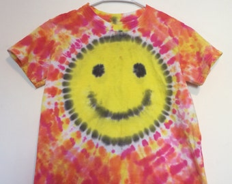 Kids large SMILEY FACE tie dyed tee, orange yellow and pink