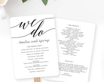Wedding Program Fan or Flat Wedding Program Templates - Printable Instant Download - Mod Script
