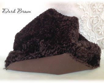 Italian CURLY viscose Fabric Dark Brown colour 10 mm pile 1/8 metre teddy bear making supplies plush