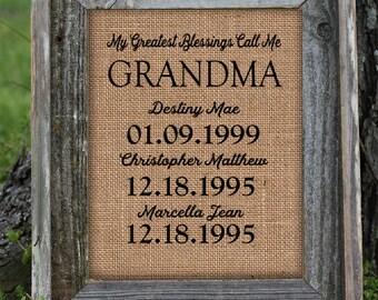 Framed Christmas Gift for Grandma | Personalized Gift For Grandma | My Greatest Blessings | Granny, nana, gigi, momma | Burlap Print | 260
