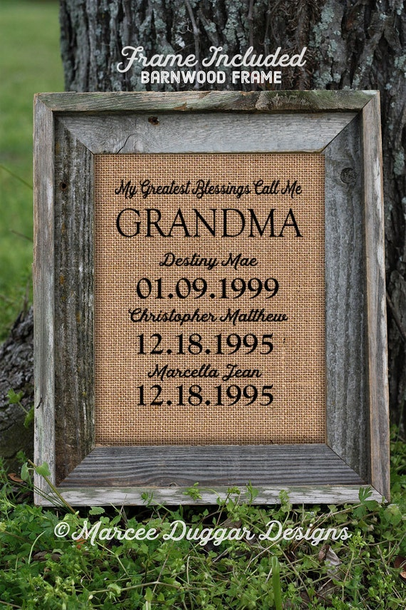 Framed Christmas Gift for Grandma | Personalized Gift For Grandma | My Greatest Blessings | Granny, nana, gigi, momma | Burlap Print | 260