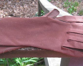 Brown Formal Gloves, Wrist Length Dress Gloves, Embroidered Wrist, Possible Size 6, Cotton Gloves, Dark Chocolate Brown, Ladies Accessory