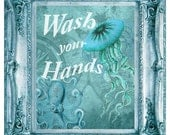 Wash Your Hands / Funny Bathroom Print / Beach House Decor / Bathroom Art / Bathroom Sign / Beach Decor / Wall Art / Wash Your Hands Sign