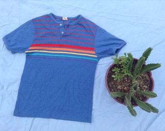 Vintage Boys Rainbow Striped Henley