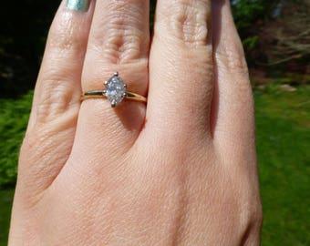 Antique Art Deco Solid 14k Gold Genuine .50 Carat Diamond Solitaire Ring, Circa 1940, .50 Carat, Size 7, Look!