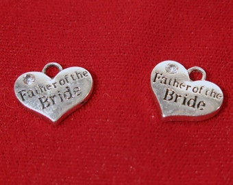 "BULK! 15pc ""Father of the Bride"" charms in antique silver style (BC1144B)"