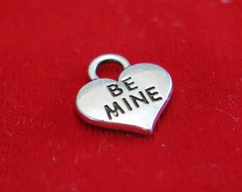"BULK! 15pc ""Be mine"" charms in antique silver style (BC1162B)"