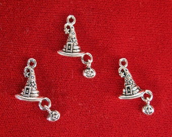 "BULK! 30pc ""witch hat"" charms in antique silver style (BC1212B)"