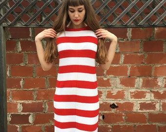 Vintage Sweater Dress / Red and White Striped Sweater Dress / 1980's Sweater Dress / Cap Sleeve / Knee Length / Size Small / Size Medium