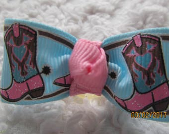 Dog Hair Bows Can Mix and match with any of my bows, COWGIRL BOOTS dog bows, bows