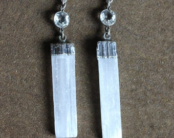 Antique Bezel Set Faceted Crystal and Selenite Earrings II on Vintage Sterling Earring Wires