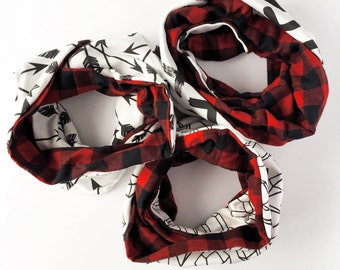 Kids infinity scarf // organic cotton scarf // baby cowl scarf // baby neck warmer // scarf in red buffalo check print // children scarf //