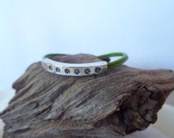 BARONI Designs Green Leather Sterling Silver Bracelet