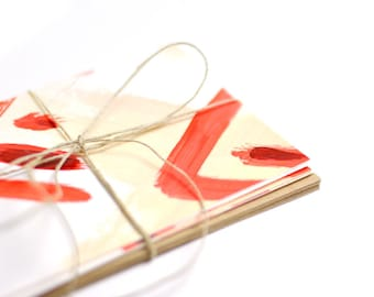 Painted Red Cards – Set of 6