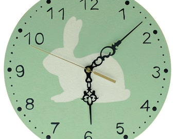 Rabbit Clock - Mint Rabbit Nursery Clock