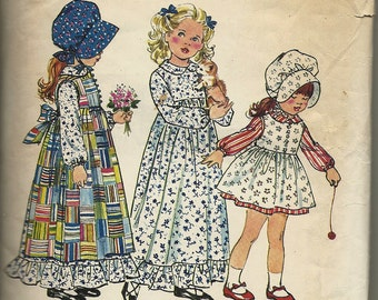 """Simplicity 5996  Childs """"Holly Hobby""""  Dress and Pinafore, Bonnet   Size 4"""