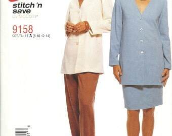 """McCalls 9158 EASY """"Stitch and Save""""  Misses Jacket, Pants and Skirt  Size 8-14  Uncut"""