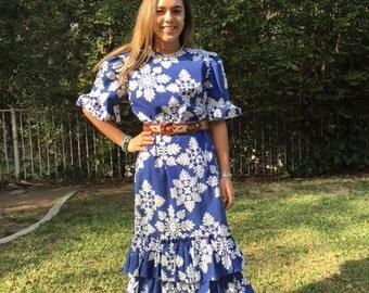 Hawaiian Christmas dress, blue, white, snowflakes, large, XL, muumuu dress (Belt not included)