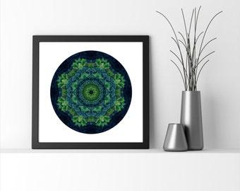 Extra large wall art - Green Wall Art - Mandala Art - Meditation - Statement Art - Forest Art  - Spiritual Art -