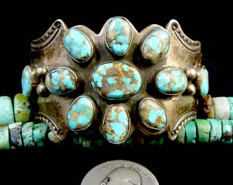 72g Vintage Navajo Sterling Silver Cuff Bracelet w Wonderful Royston Turquoise! Repousse Details and Tribal Stampings! Unique In Every Way!