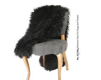 Luxurious Faux Fur Throw Blanket  - Black - Long Hair Mongolian, Llama Lambskin - Silky Soft Minky Cuddle Fur Back - Fur Accents Designs USA