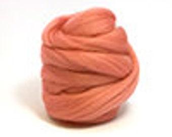 Corriedale Wool Roving (Sliver) in Salmon  - 2 oz