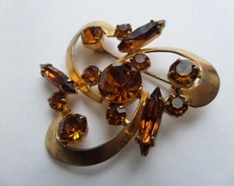 yellow crystal brooch,antique Czech/German brooch,brooch West Germany,brown crystal brooch,rhinestone brown brooch,rhinestone yellow brooch
