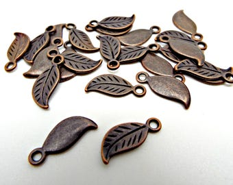 20 Leaf Charms, 17mm Copper Leaves, Antique Copper Charm, Leaf Pendant, Metal Charms, Jewelry Leaf, Copper Leaf, UK Seller, Jewelry Supplies