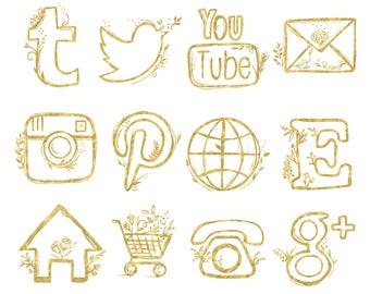 48 hand drawn social media icons social media buttons social icons rose gold social media icons blog buttons blog icons website icons