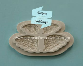 Angel wings silicone mold for chocolate, resin, fondant, clay.