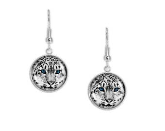 """White Leopard with Blue Eyes Portrait Photo Dangle Earrings 3/4"""" Artwork Charms in Silver Tone"""