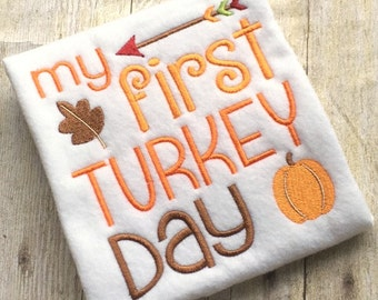 Thanksgiving Embroidery - Turkey Embroidery - Holiday Embroidery - First Thanksgiving - Embroidery Saying - Embroidery Design