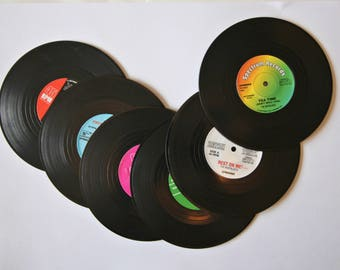 Set of 6 Coasters Tea Coffee Music Themed Vinyl Retro Kitsch Quirky Style