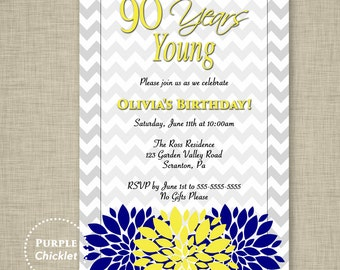 90th Birthday Invitation 90 years young Navy Blue and Yellow Flower Burst Feminine Adult Party Invite Printable JPG File Invite 330