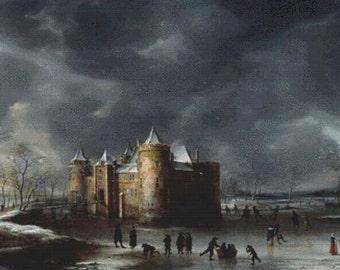 The Castle of Muiden in Winter PDF Cross Stitch Pattern