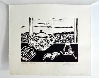 Original Handmade Linocut Print, Limited edition, small size art, black ink, Sunday mood, Turkish tea glass, teapot, wall decor, block print