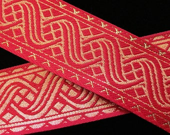 "455.4 Jacquard trim ""Icelandic"" Red/Gold - 1-1/2"" (38mm)"