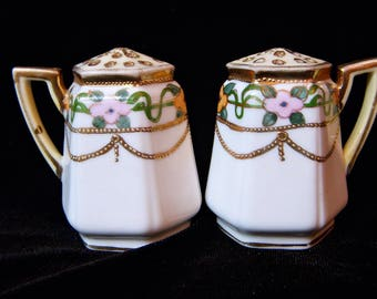 NIPPON Hand Painted Salt and Pepper Shaker Set