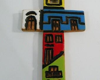 Ceramic cross. Handmade ceramic cross. Wall decor cross for inside-outside. Ceramic glazed cross in gloss blue-red-green-white-yellow. Small