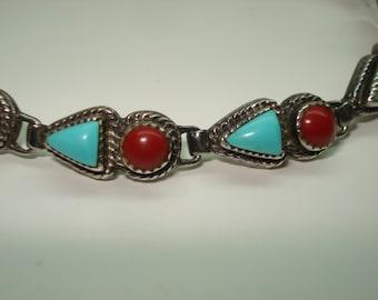 Coral Turquoise Sterling Silver Native American Sawtooth Bezel Set Bracelet