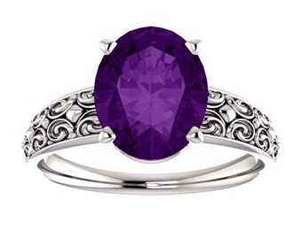 Amethyst 14K White Gold Ring, Oval Gemstone February Birthstone Ring, Wide Band