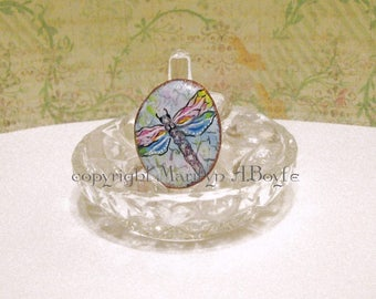 HAND PAINTED STONE from Lake Superior, dragonfly, jewelry, one of a kind, original art, adjustable band, Statement ring