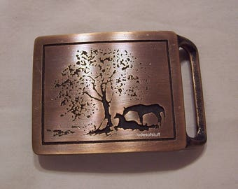Vintage Western Belt Buckle Horses Solid Brass Two Horses Under Tree