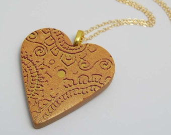 Polymer Clay Heart Pendant. Heart Pendant. Polymer Clay Necklace. Silk Screen.