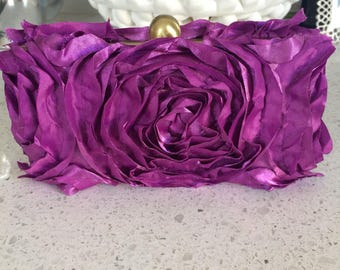 Purple rosette box clutch