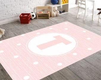 Monogram Girl, Monogram Rug, Monogram Nursery, Pink Nursery Rug, Pink Monogram,Playroom Rug, Girl Nursery Rug, Personalized Monogram, Custom